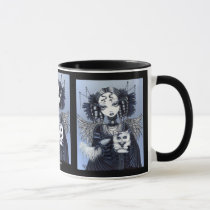 persian, cat, gothic, couture, victorian, angel, faery, faerie, fae, fairy, fairies, blue, fantasy, white, animals, Mug with custom graphic design