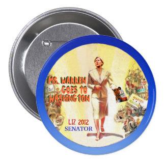 Elizabeth Warren 2012 Pin Redondo 7 Cm
