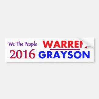 ELIZABETH WARREN & ALAN GRAYSON 2016 BUMPER STICKER