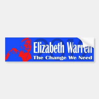 Elizabeth Warren el cambio que necesitamos Etiqueta De Parachoque