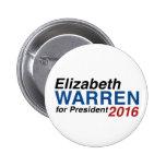 Elizabeth Warren for President 2016 Pinback Buttons