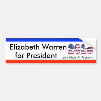 ELIZABETH WARREN FOR PRESIDENT 2020 bumpersticker Bumper Sticker