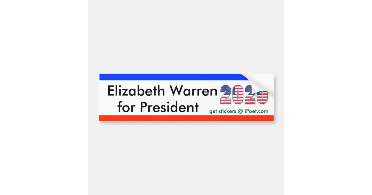 ELIZABETH WARREN FOR PRESIDENT 2020 bumpersticker Bumper ...