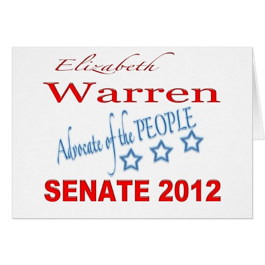 Elizabeth Warren for Senate 2012 Card