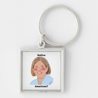 Elizabeth Warren - Native American? Silver-Colored Square Keychain
