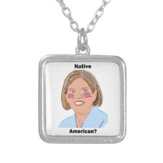 Elizabeth Warren - Native American? Square Pendant Necklace