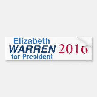 Elizabeth Warren para el presidente 2016 Pegatina De Parachoque