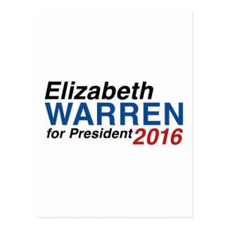 Elizabeth Warren para el presidente 2016 Tarjetas Postales