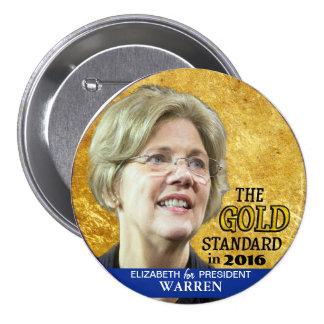 Elizabeth Warren para el presidente en 2016 Pin Redondo De 3 Pulgadas
