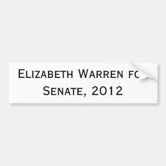 Elizabeth Warren para el senado 2012 Etiqueta De Parachoque