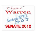 Elizabeth Warren para el senado 2012 Tarjetas Postales