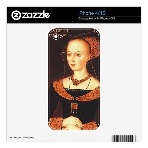 """Elizabeth Woodville """"la reina blanca """" Calcomanía Para iPhone 4S"""