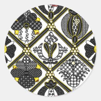 Elizabethan Blackwork tile Classic Round Sticker