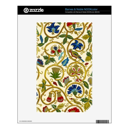 Elizabethan Swirl Embroideries - Goldwork imitatio Skin For The NOOK Color