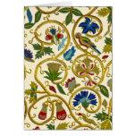 Elizabethan Swirl Embroideries-Goldwork imitation Greeting Card