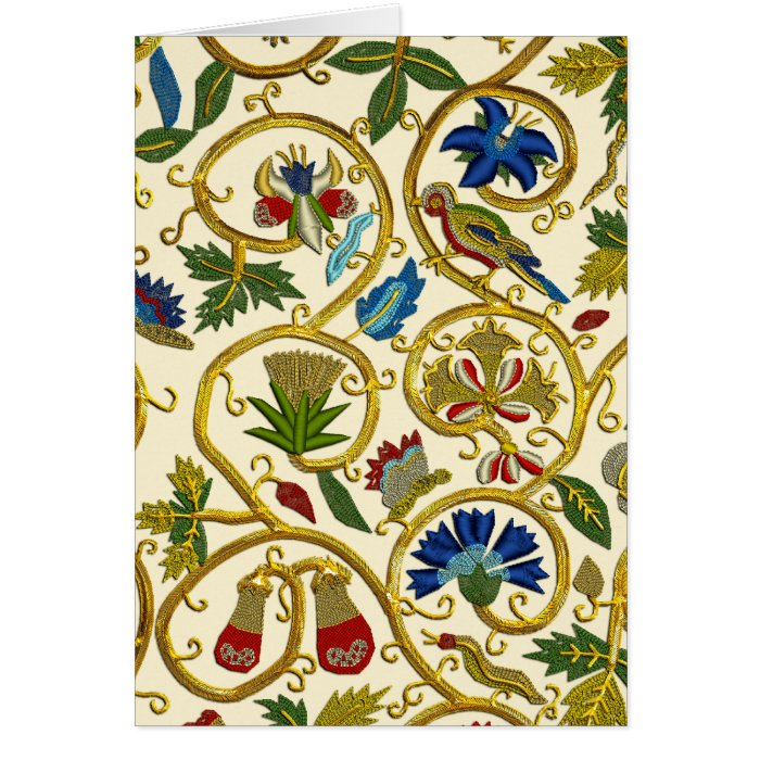 Elizabethan Swirl Embroideries-Goldwork imitation Card