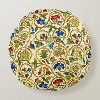 Elizabethan Swirl Embroideries-Goldwork imitation Round Pillow