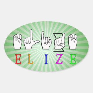 ELIZE FINGERSPELLED ASL NAME SIGN OVAL STICKER