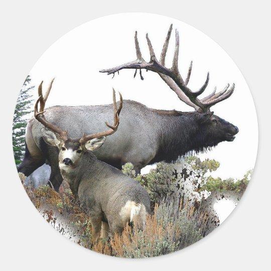 Elk and mule deer classic round sticker