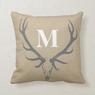 Elk Antlers Monogram Pillow on Faux Burlap