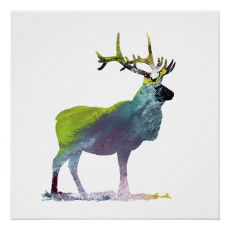 Elk art poster