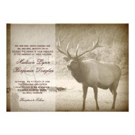 Elk Big Game Wildlife Antlers Wedding Invitations Custom Invite