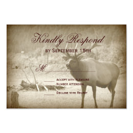 Elk Big Game Wildlife Antlers Wedding RSVP Cards