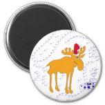 Elk big in the Christmas hat Fridge Magnets