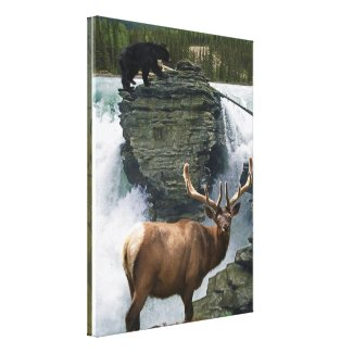 Elk & Black Bears Wildlife Art Wall Print zazzle_wrappedcanvas