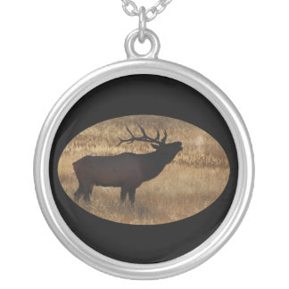 Elk Bugling with Steam Round Pendant Necklace