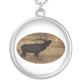 Elk Bugling with Steam Silver Plated Necklace