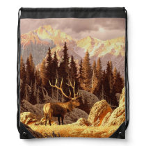 Elk Bull Drawstring Bag