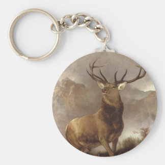 ELK BULL IN THE MOUNTAIN CLOUDS KEYCHAIN WILD