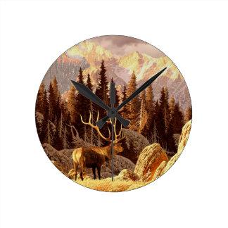Elk Bull Round Clock