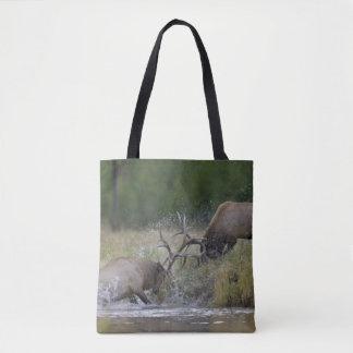 Elk Bulls fighting, Yellowstone NP, Wyoming Tote Bag