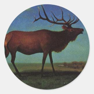 Elk By Albert Bierstadt Classic Round Sticker