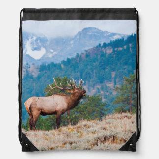 Elk Cervus Elephus Bull Bugling Drawstring Bags