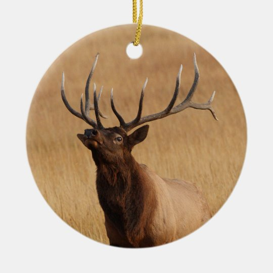 elk charging ceramic ornament