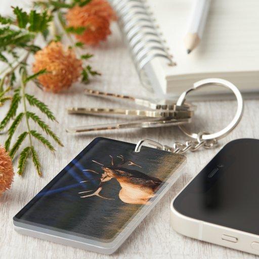 Elk Charging Single-Sided Rectangular Acrylic Keychain