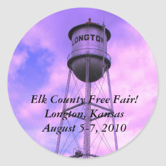 Elk County Free Fair! Longton, Kansas Classic Round Sticker