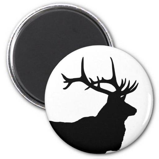 Elk Head Silhouette 2 Inch Round Magnet