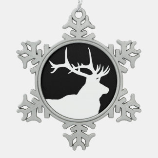 Elk Head Snowflake Pewter Christmas Ornament