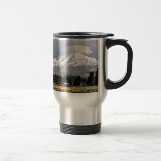 Elk Heard Gathers at the Base of Mt. Adams Coffee Mugs