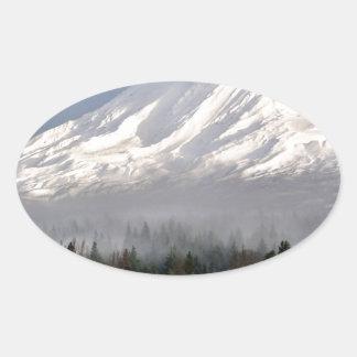 Elk Heard Gathers at the Base of Mt. Adams Oval Sticker