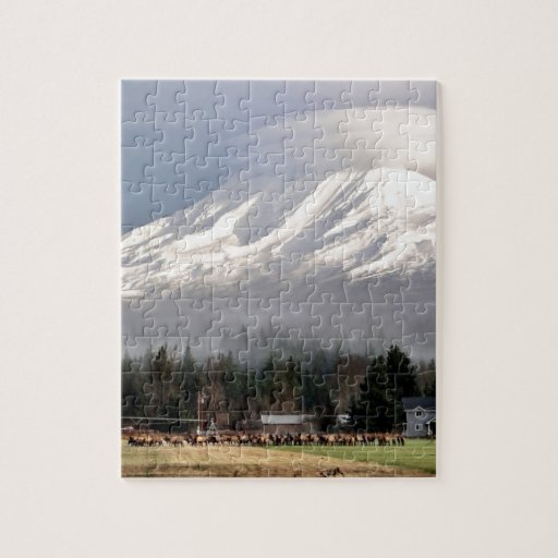 Elk Heard Gathers at the Base of Mt. Adams Jigsaw Puzzles