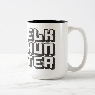 ELK HUNTER - I Love Bow & Rifle Deer Hunting, Onyx Two-Tone Coffee Mug
