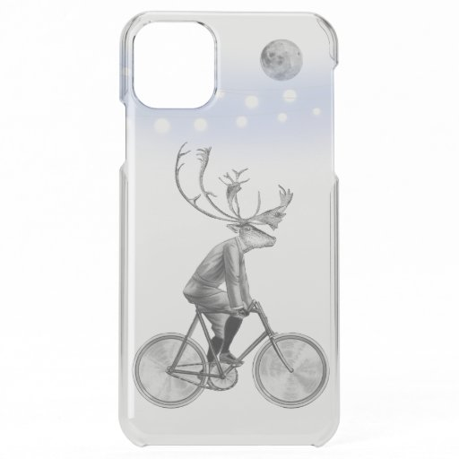 Elk in Suit Riding Vintage Bicycle Under the Moon iPhone 11 Pro Max Case