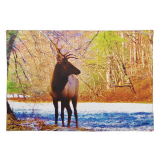 Elk in the snow cloth placemat