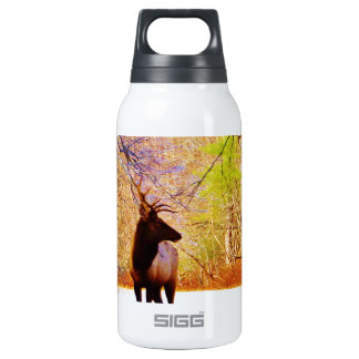 Elk in the snow insulated water bottle