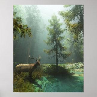 Elk in the woods poster